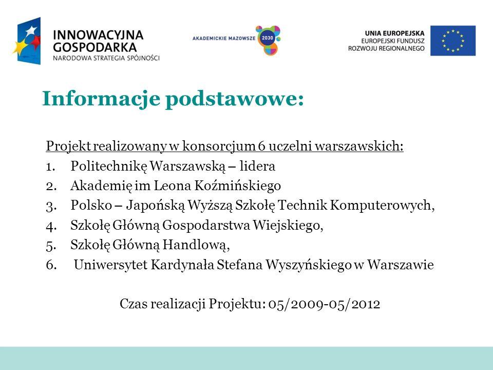 Informacje podstawowe: Projekt realizowany w konsorcjum 6 uczelni warszawskich: 1.Politechnikę Warszawską – lidera 2.Akademię im Leona Koźmińskiego 3.