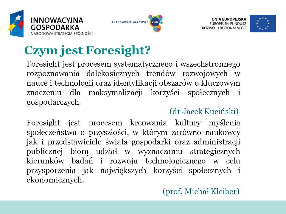 Czym jest Foresight? Foresight jest procesem systematycznego i wszechstronnego rozpoznawania dalekosiężnych trendów rozwojowych w nauce i technologii