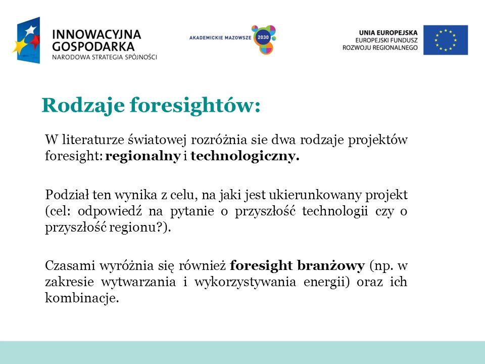 Rodzaje foresightów: W literaturze światowej rozróżnia sie dwa rodzaje projektów foresight: regionalny i technologiczny. Podział ten wynika z celu, na