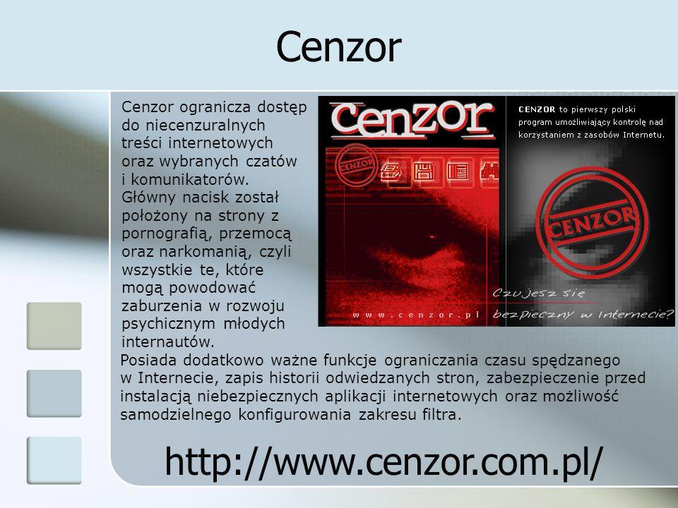Cenzor Posiada dodatkowo ważne funkcje ograniczania czasu spędzanego w Internecie, zapis historii odwiedzanych stron, zabezpieczenie przed instalacją