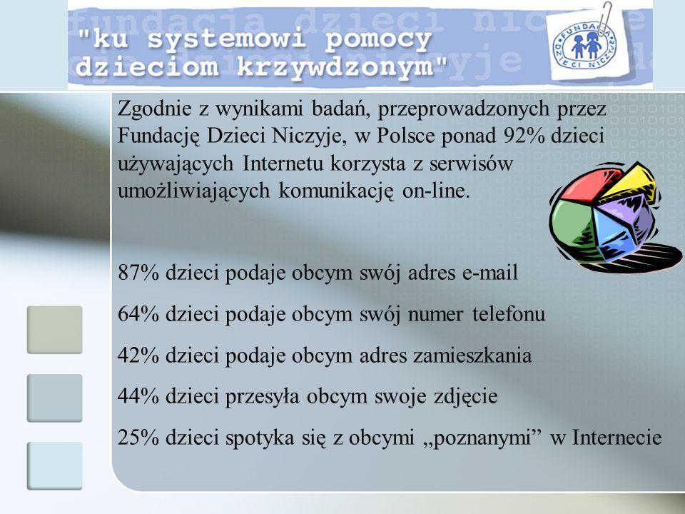 Zgodnie z wynikami badań, przeprowadzonych przez Fundację Dzieci Niczyje, w Polsce ponad 92% dzieci używających Internetu korzysta z serwisów umożliwi