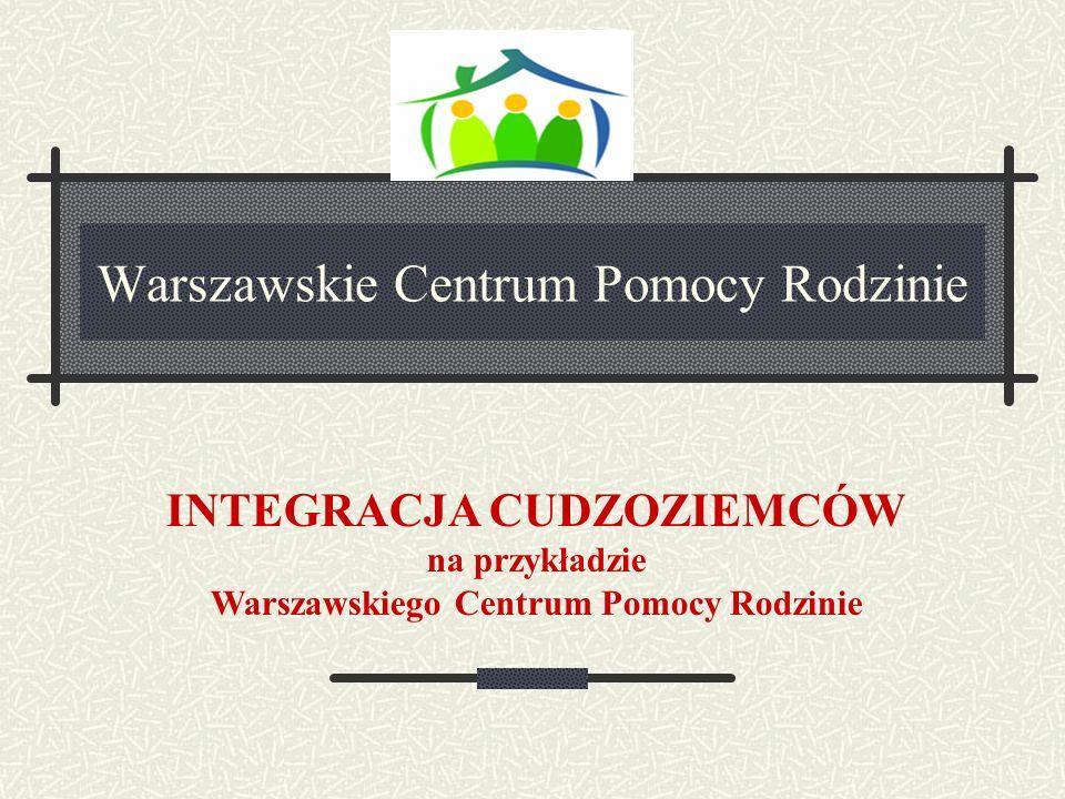 KLUCZOWE PROBLEMY CUDZOZIEMCÓW W PROCESIE INTEGRACJI brak dobrze płatnej, legalnej pracy, brak taniej, dostępnej bazy mieszkaniowej, trudności w uzyskaniu właściwej pomocy medycznej, różnice kulturowe oraz słaba znajomość języka polskiego i polskich procedur administracyjnych bariery administracyjne i społeczne Warszawskie Centrum Pomocy Rodzinie