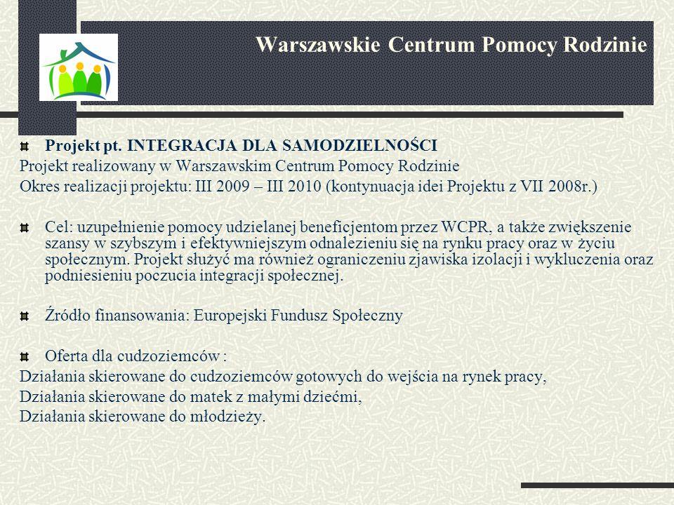 Projekt pt. INTEGRACJA DLA SAMODZIELNOŚCI Projekt realizowany w Warszawskim Centrum Pomocy Rodzinie Okres realizacji projektu: III 2009 – III 2010 (ko