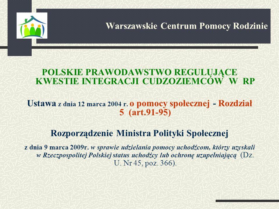 POLSKIE PRAWODAWSTWO REGULUJĄCE KWESTIE INTEGRACJI CUDZOZIEMCÓW W RP Ustawa z dnia 12 marca 2004 r. o pomocy społecznej - Rozdział 5 (art.91-95) Rozpo