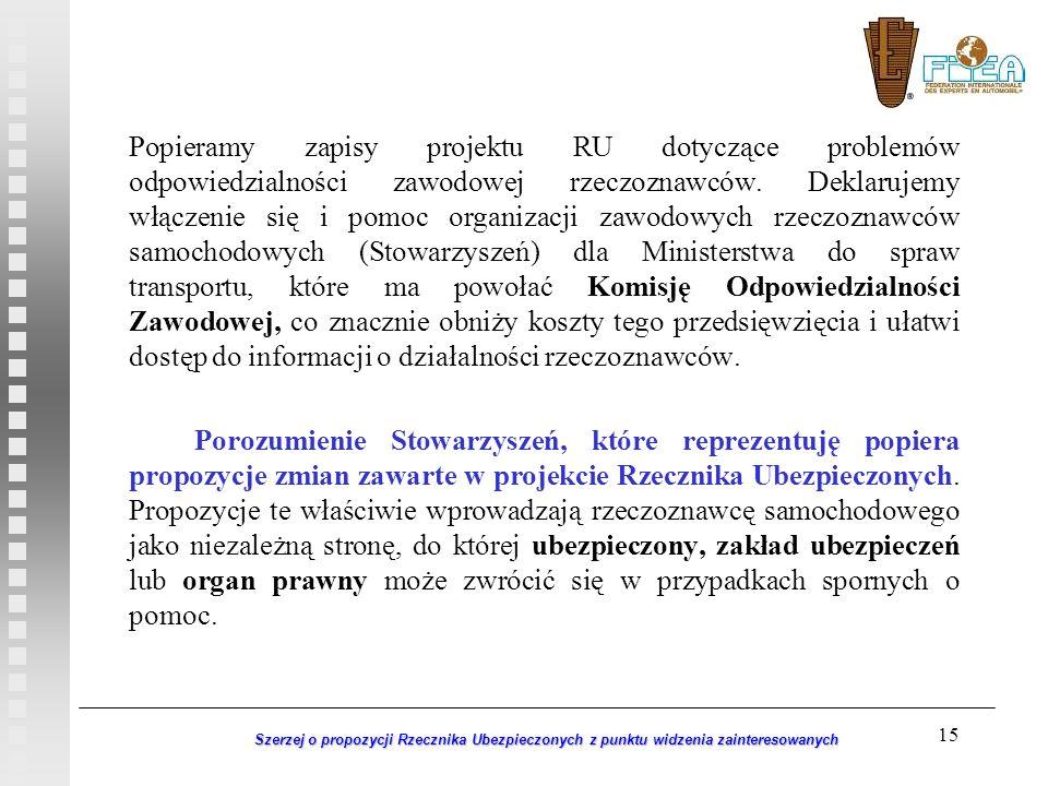15 Szerzej o propozycji Rzecznika Ubezpieczonych z punktu widzenia zainteresowanych Popieramy zapisy projektu RU dotyczące problemów odpowiedzialności