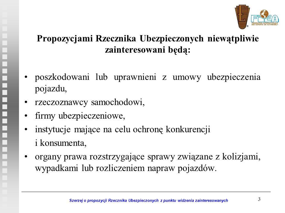 3 Szerzej o propozycji Rzecznika Ubezpieczonych z punktu widzenia zainteresowanych Propozycjami Rzecznika Ubezpieczonych niewątpliwie zainteresowani b