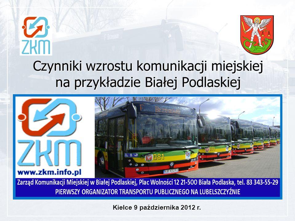 Czynniki wzrostu komunikacji miejskiej na przykładzie Białej Podlaskiej Kielce 9 października 2012 r.