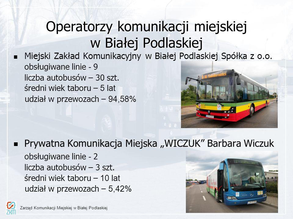 Operatorzy komunikacji miejskiej w Białej Podlaskiej Miejski Zakład Komunikacyjny w Białej Podlaskiej Spółka z o.o. obsługiwane linie - 9 liczba autob