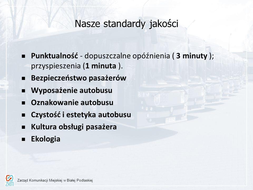 Nasze standardy jakości Punktualność - dopuszczalne opóźnienia ( 3 minuty ); przyspieszenia (1 minuta ). Bezpieczeństwo pasażerów Wyposażenie autobusu