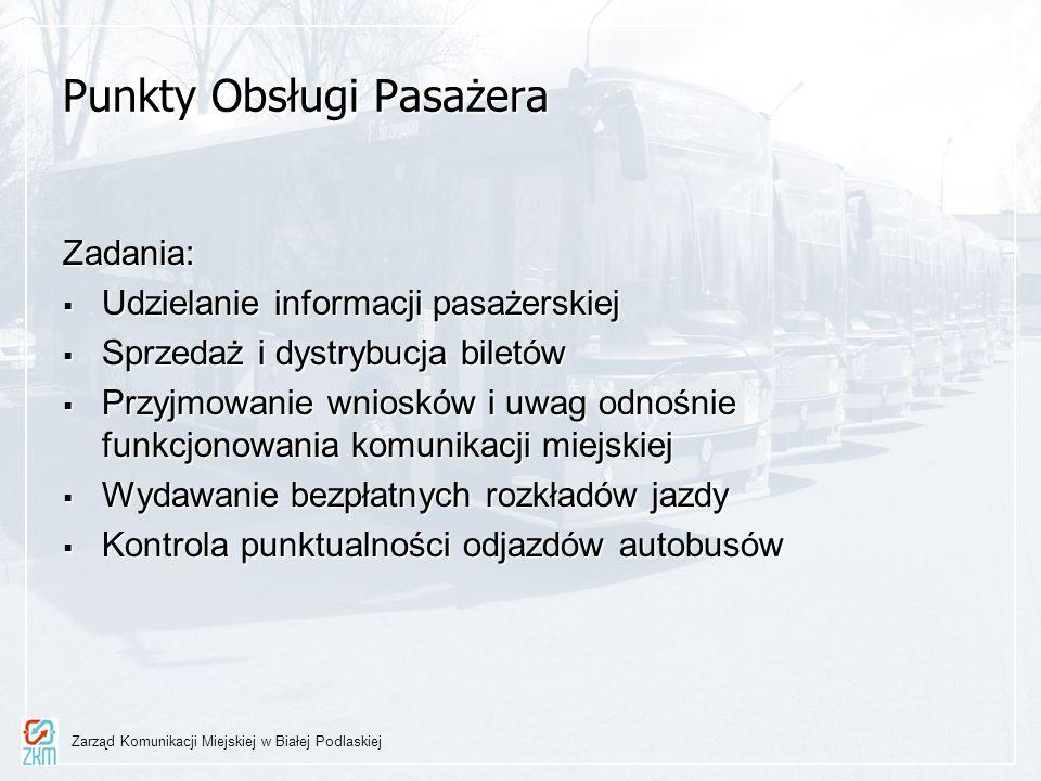 Punkty Obsługi Pasażera Zadania: Udzielanie informacji pasażerskiej Udzielanie informacji pasażerskiej Sprzedaż i dystrybucja biletów Sprzedaż i dystr