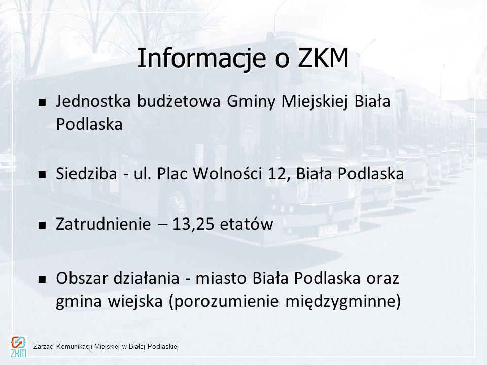 Informacje o ZKM Jednostka budżetowa Gminy Miejskiej Biała Podlaska Siedziba - ul. Plac Wolności 12, Biała Podlaska Zatrudnienie – 13,25 etatów Obszar