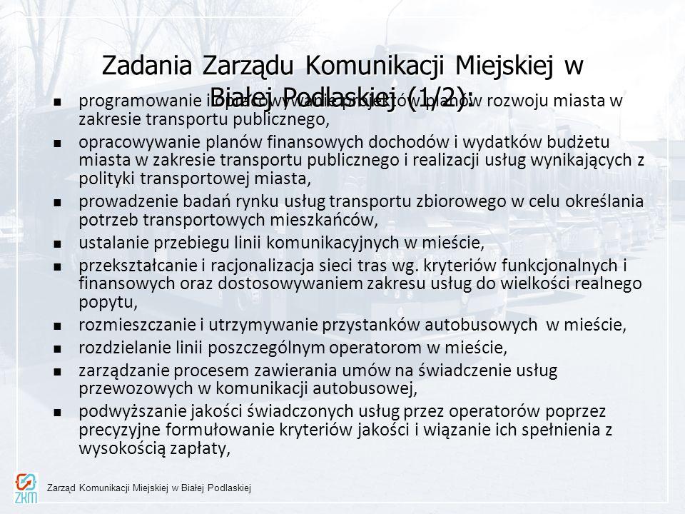 Zadania Zarządu Komunikacji Miejskiej w Białej Podlaskiej (1/2): programowanie i opracowywanie projektów planów rozwoju miasta w zakresie transportu p