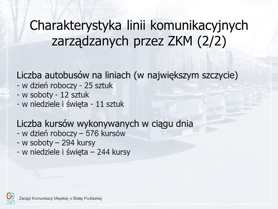 Charakterystyka linii komunikacyjnych zarządzanych przez ZKM (2/2) Liczba autobusów na liniach (w największym szczycie) - w dzień roboczy - 25 sztuk -