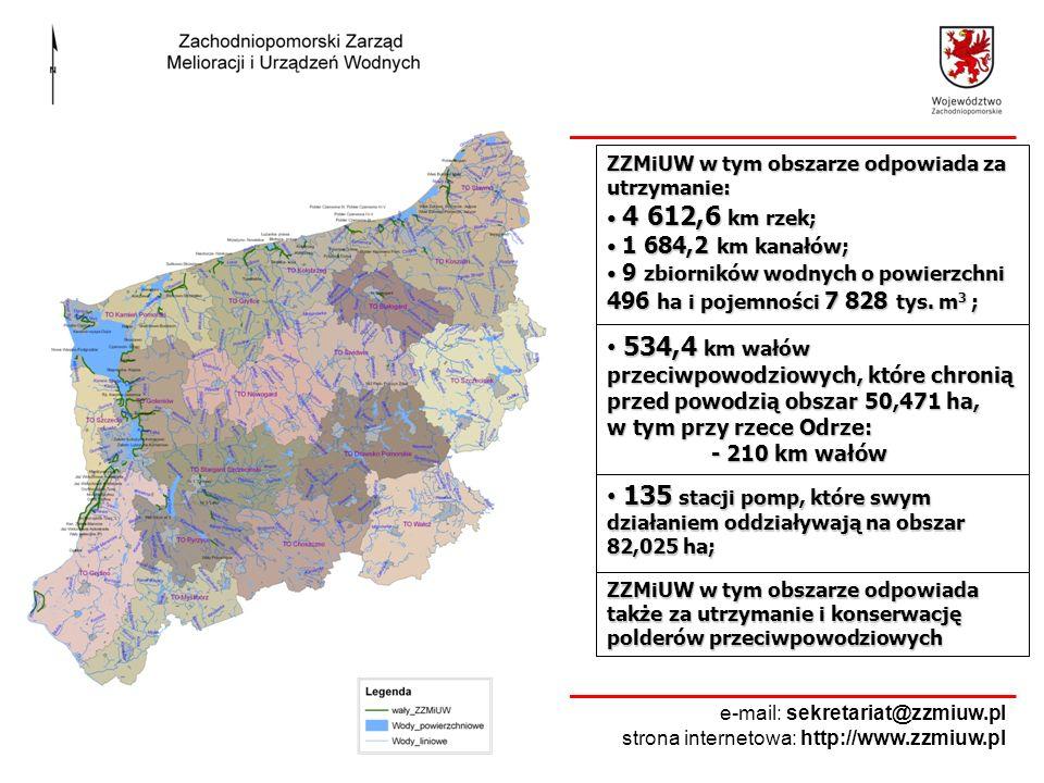 ZZMiUW w tym obszarze odpowiada za utrzymanie: 4 612,6 km rzek; 4 612,6 km rzek; 1 684,2 km kanałów; 1 684,2 km kanałów; 9 zbiorników wodnych o powier