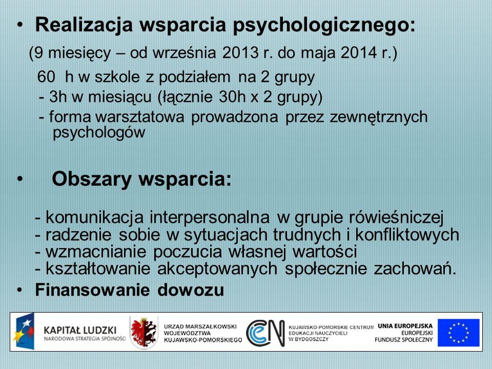 Realizacja wsparcia psychologicznego: (9 miesięcy – od września 2013 r. do maja 2014 r.) 60 h w szkole z podziałem na 2 grupy - 3h w miesiącu (łącznie
