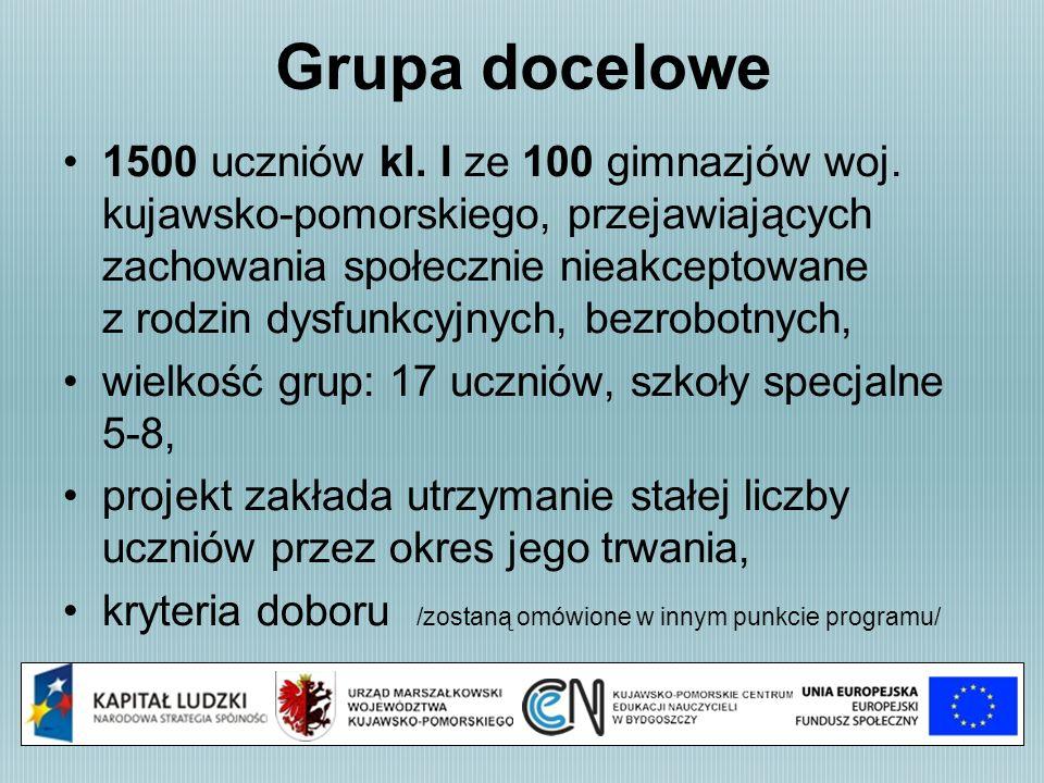 Grupa docelowe 1500 uczniów kl. I ze 100 gimnazjów woj. kujawsko-pomorskiego, przejawiających zachowania społecznie nieakceptowane z rodzin dysfunkcyj