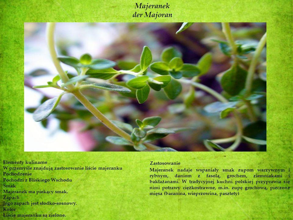 Majeranek der Majoran Elementy kulinarne W przemyśle znajdują zastosowanie liście majeranku Pochodzenie Pochodzi z Bliskiego Wschodu Smak Majeranek ma