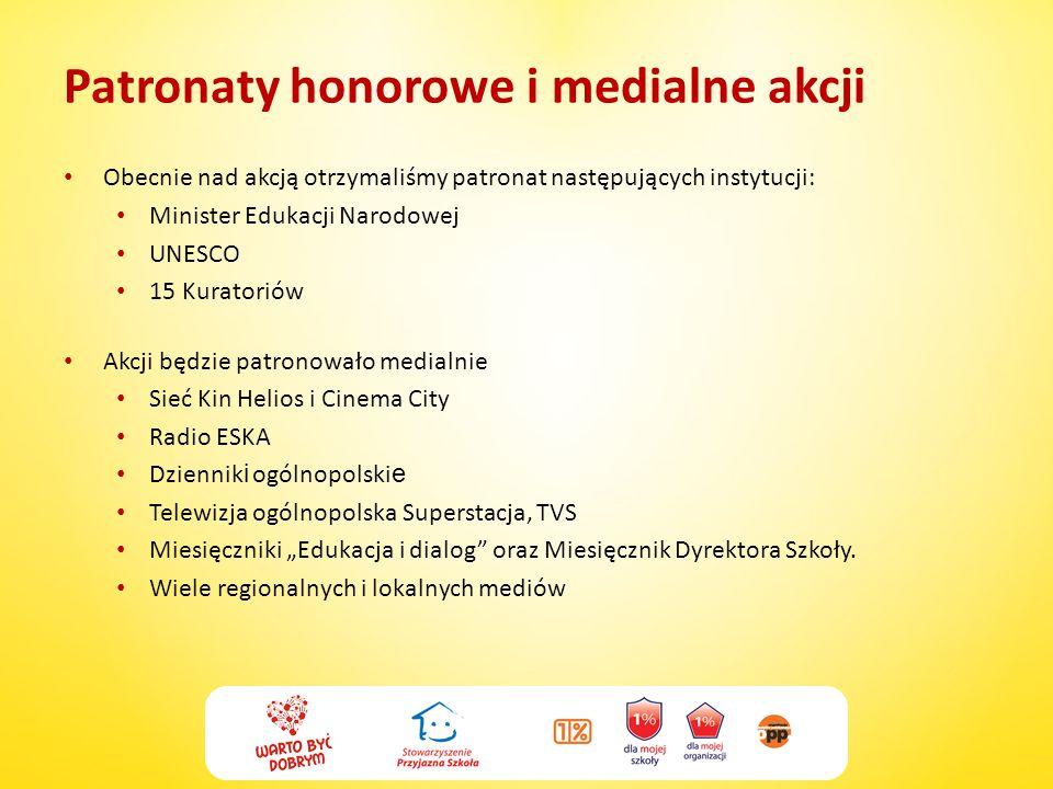 Patronaty honorowe i medialne akcji Obecnie nad akcją otrzymaliśmy patronat następujących instytucji: Minister Edukacji Narodowej UNESCO 15 Kuratoriów