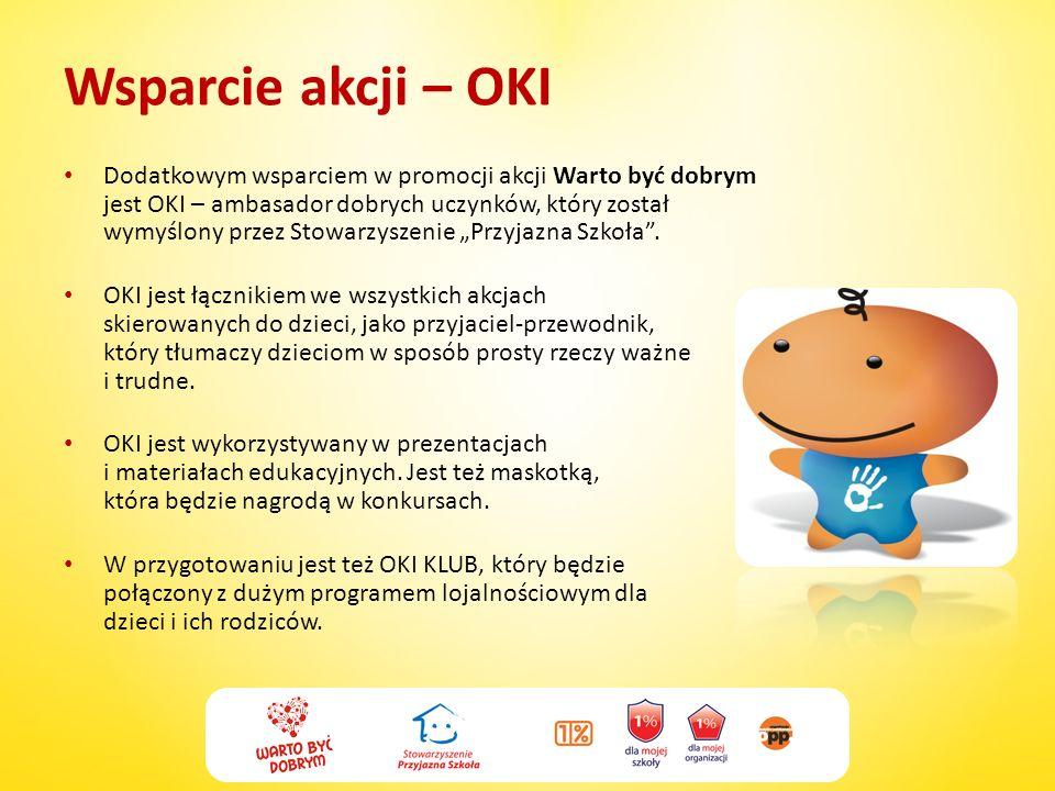 Wsparcie akcji – OKI Dodatkowym wsparciem w promocji akcji Warto być dobrym jest OKI – ambasador dobrych uczynków, który został wymyślony przez Stowar