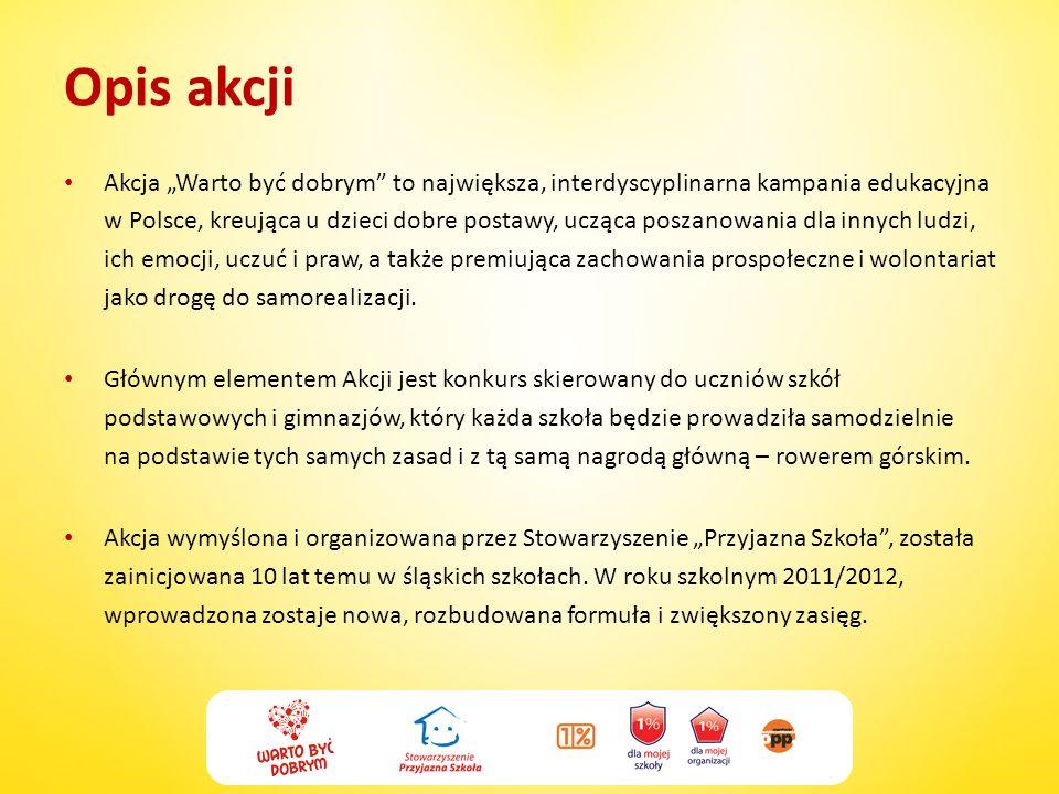 Opis akcji Akcja Warto być dobrym to największa, interdyscyplinarna kampania edukacyjna w Polsce, kreująca u dzieci dobre postawy, ucząca poszanowania