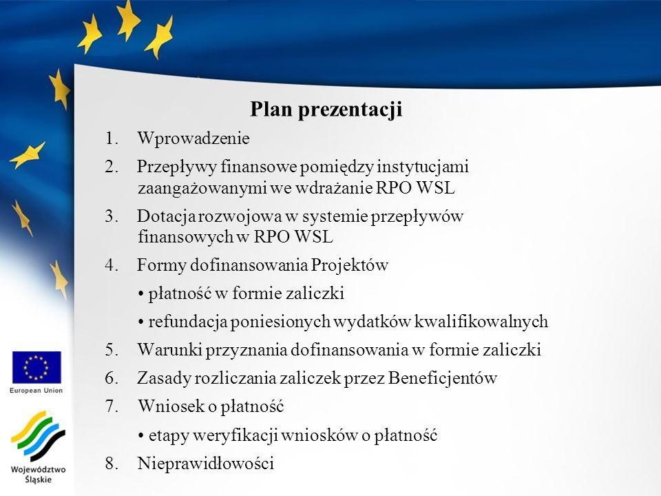 Plan prezentacji 1. Wprowadzenie 2. Przepływy finansowe pomiędzy instytucjami zaangażowanymi we wdrażanie RPO WSL 3. Dotacja rozwojowa w systemie prze