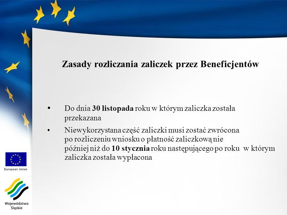 Zasady rozliczania zaliczek przez Beneficjentów Do dnia 30 listopada roku w którym zaliczka została przekazana Niewykorzystana część zaliczki musi zos