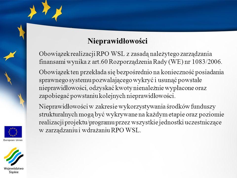 Nieprawidłowości Obowiązek realizacji RPO WSL z zasadą należytego zarządzania finansami wynika z art.60 Rozporządzenia Rady (WE) nr 1083/2006. Obowiąz