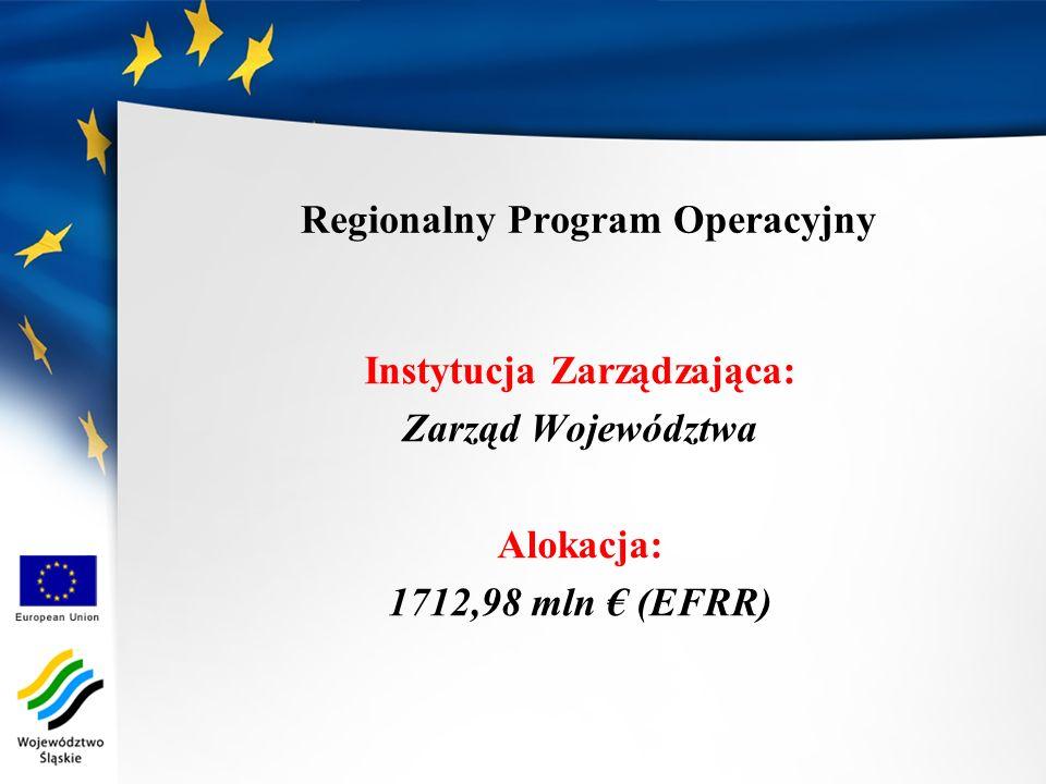 Regionalny Program Operacyjny Instytucja Zarządzająca: Zarząd Województwa Alokacja: 1712,98 mln (EFRR)