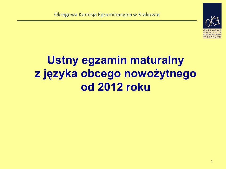 Okręgowa Komisja Egzaminacyjna w Krakowie Struktura egzaminu ustnego z języka obcego nowożytnego ZadanieCzasPunktacja Rozmowa wstępnaok.
