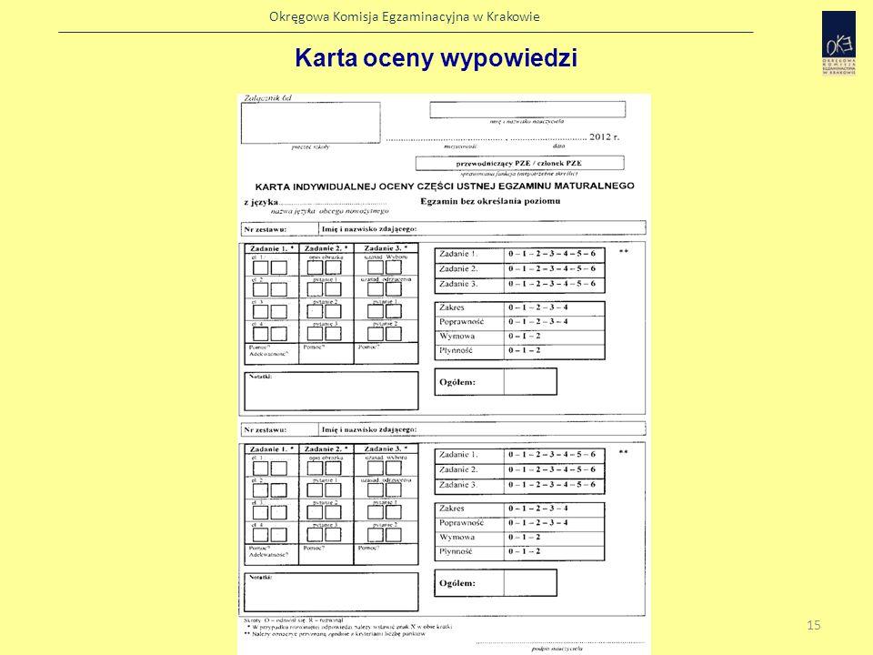 Okręgowa Komisja Egzaminacyjna w Krakowie Protokół indywidualny części ustnej egzaminu maturalnego 16