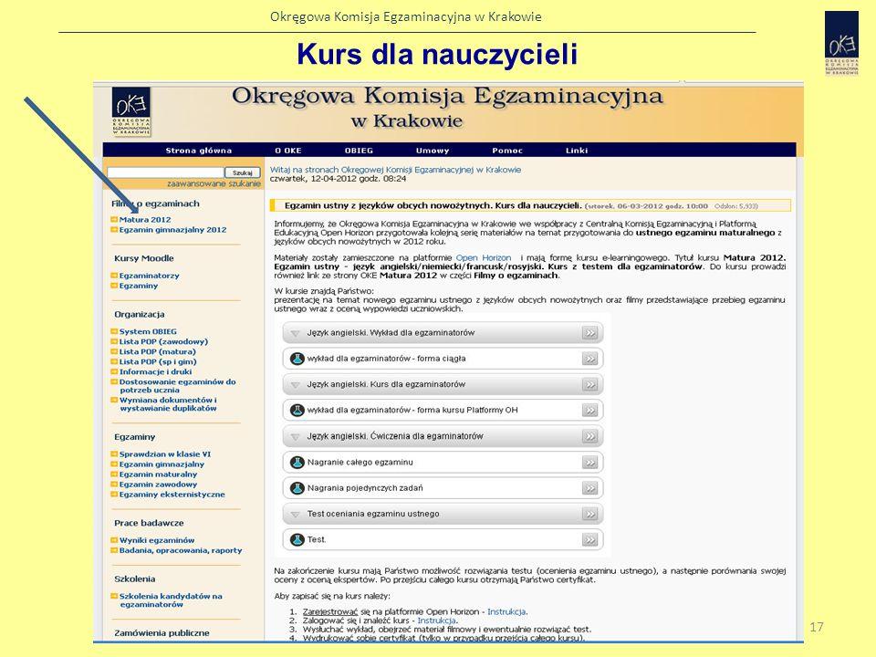 Okręgowa Komisja Egzaminacyjna w Krakowie Strona kursu 18