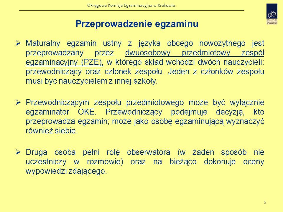 Okręgowa Komisja Egzaminacyjna w Krakowie Osoba oceniająca powinna: 1.zapoznać się z treścią wszystkich zestawów egzaminacyjnych na dzień przed egzaminem 2.