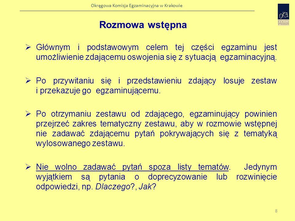 Okręgowa Komisja Egzaminacyjna w Krakowie Rozmowa wstępna powinna trwać ok.