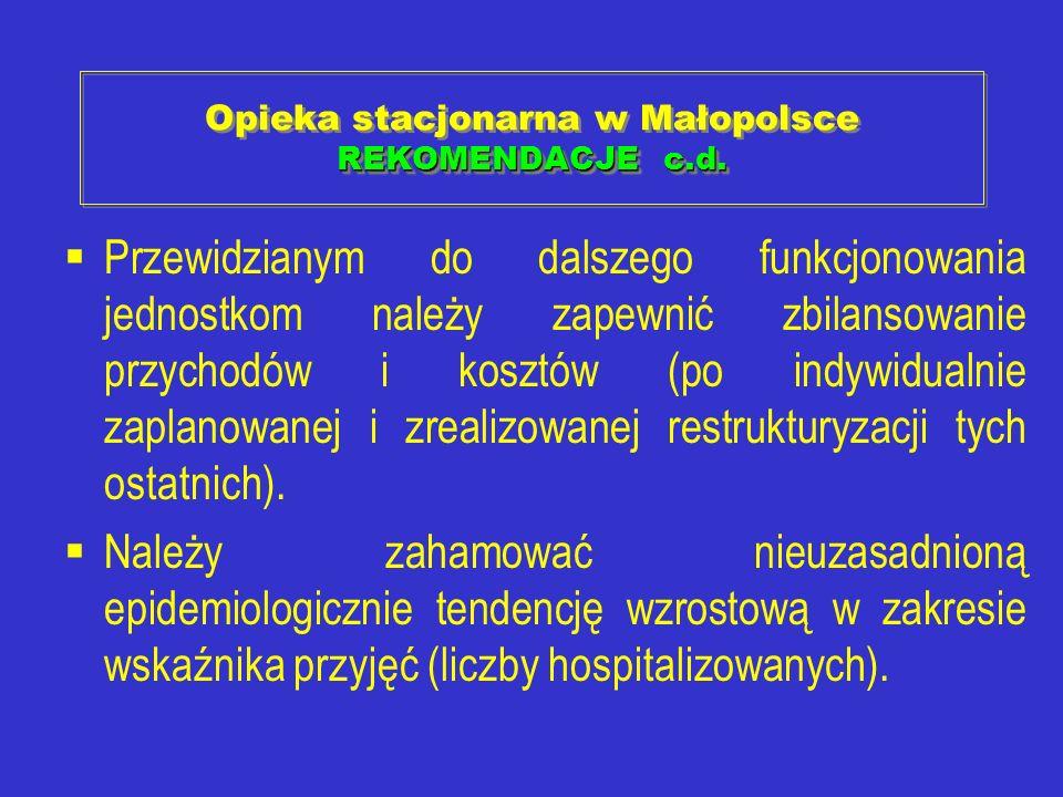 REKOMENDACJE c.d. Opieka stacjonarna w Małopolsce REKOMENDACJE c.d. Przewidzianym do dalszego funkcjonowania jednostkom należy zapewnić zbilansowanie