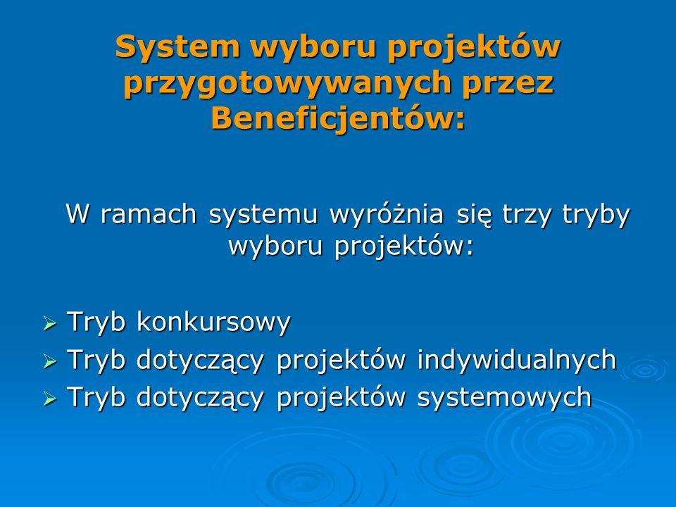 System wyboru projektów przygotowywanych przez Beneficjentów: W ramach systemu wyróżnia się trzy tryby wyboru projektów: W ramach systemu wyróżnia się