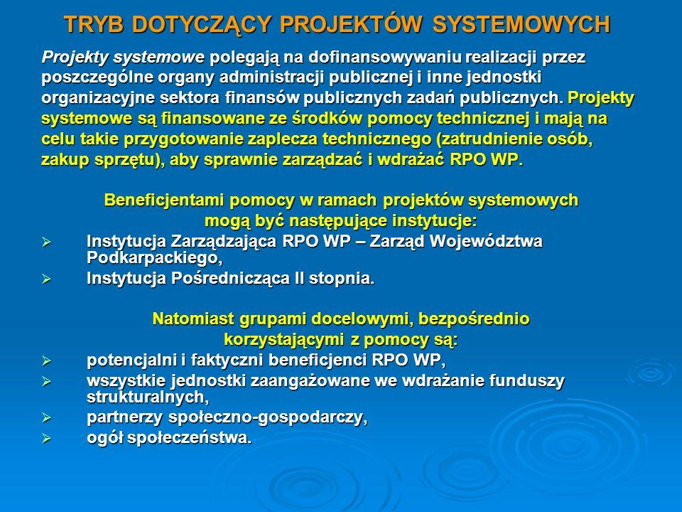 TRYB DOTYCZĄCY PROJEKTÓW SYSTEMOWYCH Projekty systemowe polegają na dofinansowywaniu realizacji przez poszczególne organy administracji publicznej i i