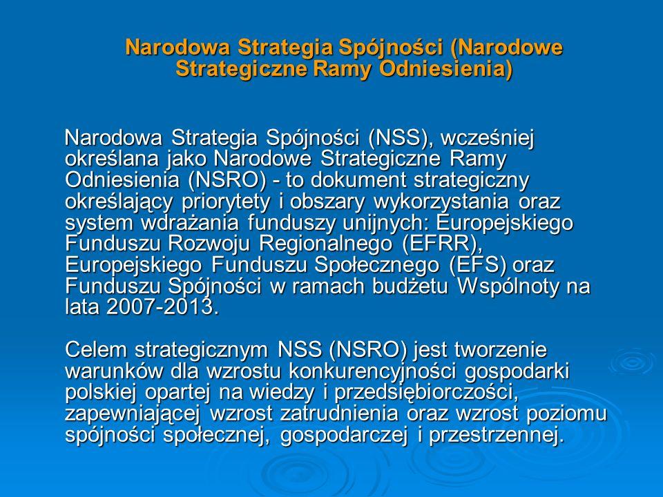 Cele NSRO będą realizowane za pomocą Programów Operacyjnych (PO), zarządzanych przez Ministerstwo Rozwoju Regionalnego, Regionalnych Programów Operacyjnych (RPO), zarządzanych przez Zarządy poszczególnych Województw i projektów współfinansowanych ze strony instrumentów strukturalnych, tj.: Cele NSRO będą realizowane za pomocą Programów Operacyjnych (PO), zarządzanych przez Ministerstwo Rozwoju Regionalnego, Regionalnych Programów Operacyjnych (RPO), zarządzanych przez Zarządy poszczególnych Województw i projektów współfinansowanych ze strony instrumentów strukturalnych, tj.: Program Operacyjny Infrastruktura i Środowisko - EFRR i FS Program Operacyjny Infrastruktura i Środowisko - EFRR i FS Program Operacyjny Innowacyjna Gospodarka - EFRR Program Operacyjny Innowacyjna Gospodarka - EFRR Program Operacyjny Kapitał Ludzki - EFS Program Operacyjny Kapitał Ludzki - EFS 16 Regionalnych Programów Operacyjnych - EFRR 16 Regionalnych Programów Operacyjnych - EFRR Program Operacyjny Rozwój Polski Wschodniej - EFRR Program Operacyjny Rozwój Polski Wschodniej - EFRR Program Operacyjny Pomoc Techniczna - EFRR Program Operacyjny Pomoc Techniczna - EFRR Programy Operacyjne Europejskiej Współpracy Terytorialnej - EFRR Programy Operacyjne Europejskiej Współpracy Terytorialnej - EFRR