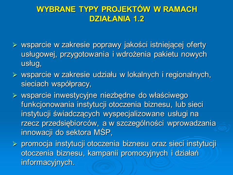 WYBRANE TYPY PROJEKTÓW W RAMACH DZIAŁANIA 1.2 wsparcie w zakresie poprawy jakości istniejącej oferty usługowej, przygotowania i wdrożenia pakietu nowy