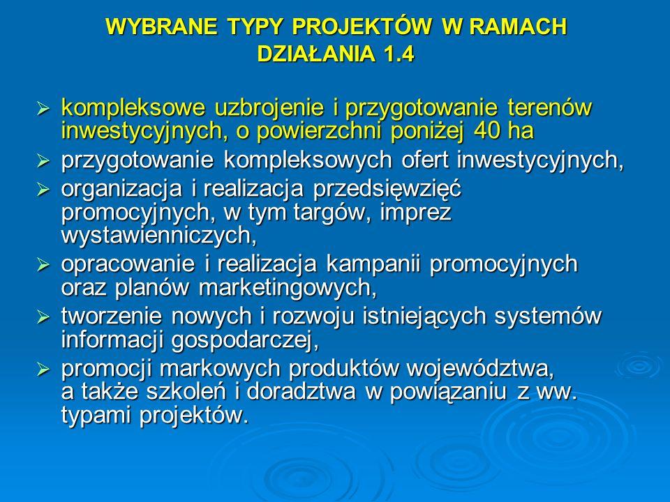 WYBRANE TYPY PROJEKTÓW W RAMACH DZIAŁANIA 1.4 kompleksowe uzbrojenie i przygotowanie terenów inwestycyjnych, o powierzchni poniżej 40 ha kompleksowe u