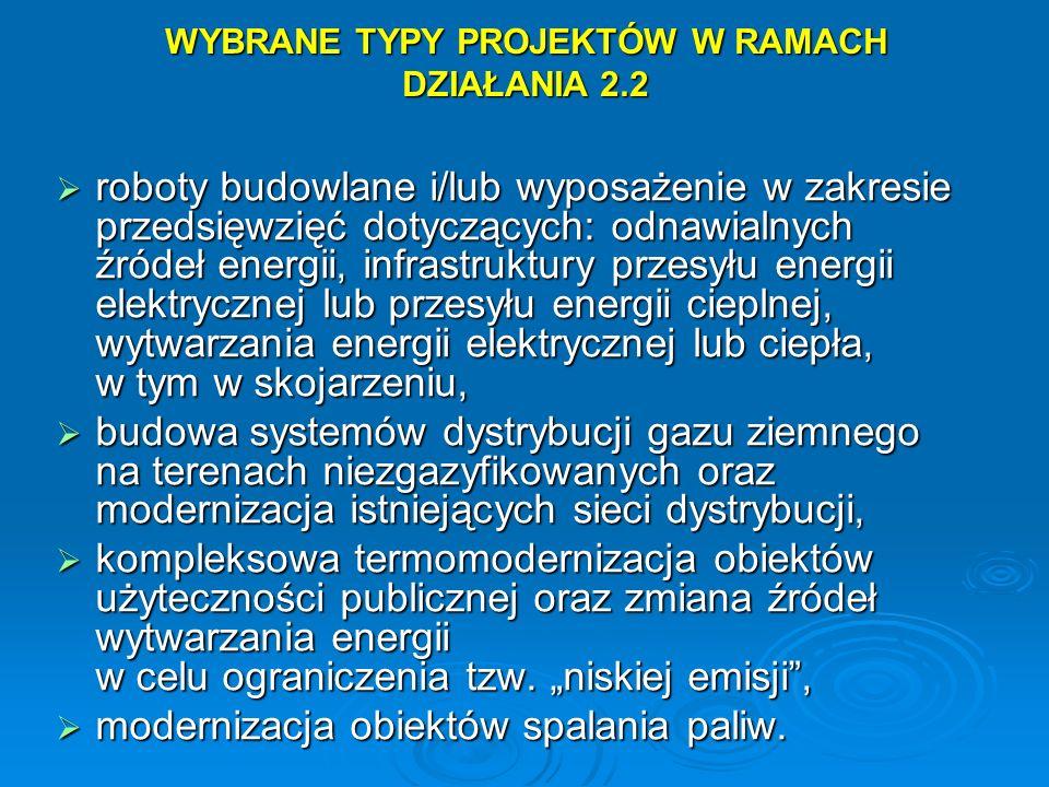 WYBRANE TYPY PROJEKTÓW W RAMACH DZIAŁANIA 2.2 roboty budowlane i/lub wyposażenie w zakresie przedsięwzięć dotyczących: odnawialnych źródeł energii, in