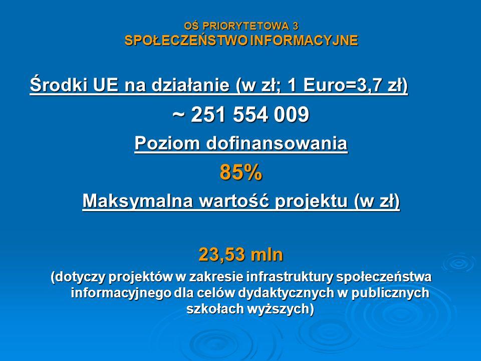 OŚ PRIORYTETOWA 3 SPOŁECZEŃSTWO INFORMACYJNE Środki UE na działanie (w zł; 1 Euro=3,7 zł) ~ 251 554 009 Poziom dofinansowania 85% Maksymalna wartość p