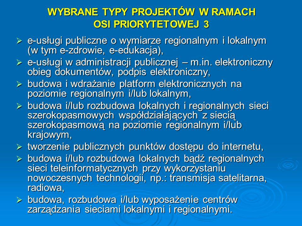 WYBRANE TYPY PROJEKTÓW W RAMACH OSI PRIORYTETOWEJ 3 e-usługi publiczne o wymiarze regionalnym i lokalnym (w tym e-zdrowie, e-edukacja), e-usługi publi