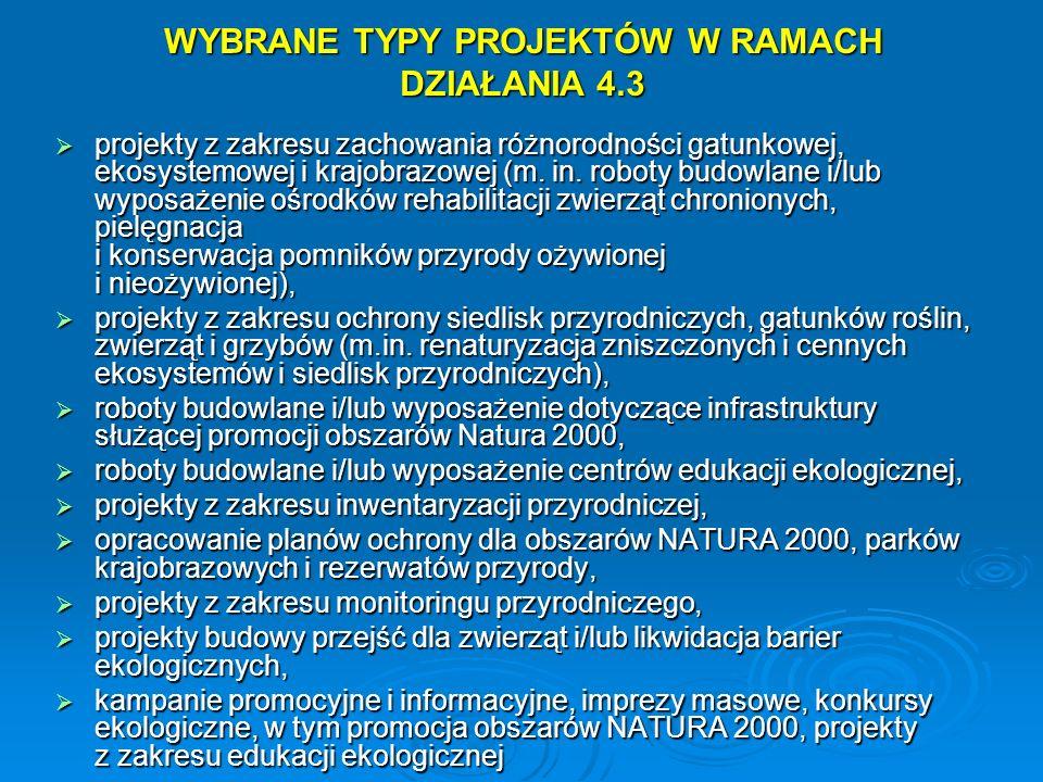 WYBRANE TYPY PROJEKTÓW W RAMACH DZIAŁANIA 4.3 projekty z zakresu zachowania różnorodności gatunkowej, ekosystemowej i krajobrazowej (m. in. roboty bud