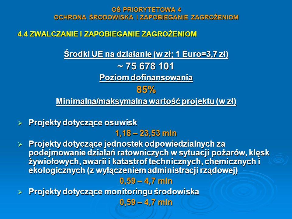 OŚ PRIORYTETOWA 4 OCHRONA ŚRODOWISKA I ZAPOBIEGANIE ZAGROŻENIOM 4.4 ZWALCZANIE I ZAPOBIEGANIE ZAGROŻENIOM Środki UE na działanie (w zł; 1 Euro=3,7 zł)