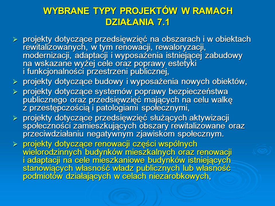 WYBRANE TYPY PROJEKTÓW W RAMACH DZIAŁANIA 7.1 projekty dotyczące przedsięwzięć na obszarach i w obiektach rewitalizowanych, w tym renowacji, rewaloryz