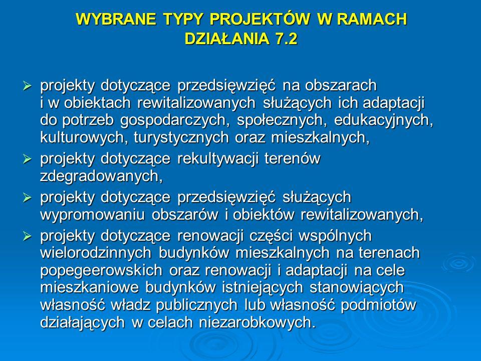 WYBRANE TYPY PROJEKTÓW W RAMACH DZIAŁANIA 7.2 projekty dotyczące przedsięwzięć na obszarach i w obiektach rewitalizowanych służących ich adaptacji do