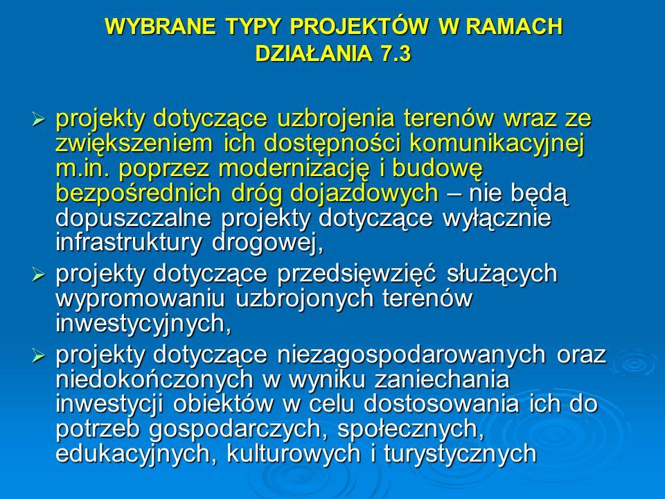 WYBRANE TYPY PROJEKTÓW W RAMACH DZIAŁANIA 7.3 projekty dotyczące uzbrojenia terenów wraz ze zwiększeniem ich dostępności komunikacyjnej m.in. poprzez