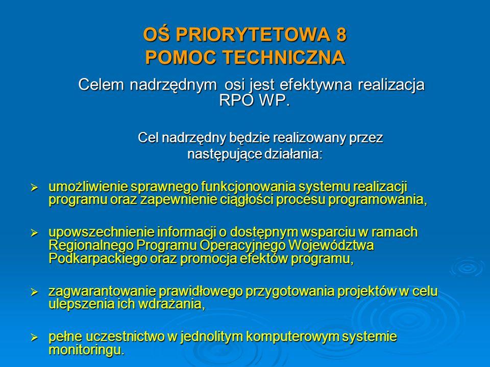 OŚ PRIORYTETOWA 8 POMOC TECHNICZNA Celem nadrzędnym osi jest efektywna realizacja RPO WP. Celem nadrzędnym osi jest efektywna realizacja RPO WP. Cel n