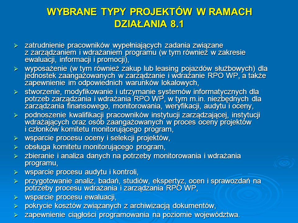 WYBRANE TYPY PROJEKTÓW W RAMACH DZIAŁANIA 8.1 zatrudnienie pracowników wypełniających zadania związane z zarządzaniem i wdrażaniem programu (w tym rów