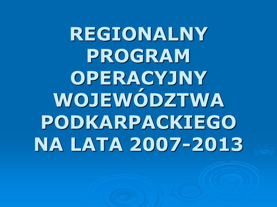 HARMONOGRAM PRAC NAD RPO WP Prace nad Regionalnym Programem Operacyjnym Województwa Podkarpackiego na lata 2007-2013 trwały od marca 2005 r.